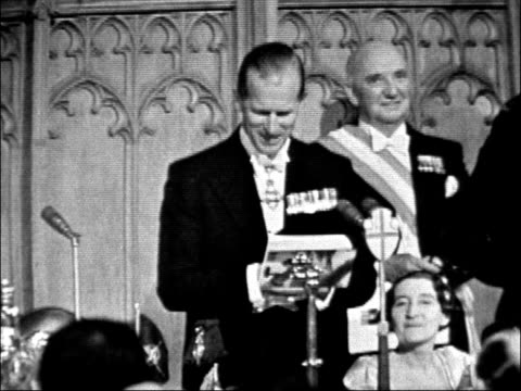 duke of edinburgh speech at nato dinner england london guildhall int prince philip duke of edinburgh speaks at nato dinner about lord montgomery of... - prince philip stock videos & royalty-free footage