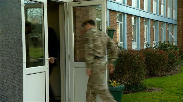 duke of edinburgh visits 1st battalion grenadier guards; england: hampshire: aldershot: lille barracks: ext '1st battalion grenadier guards'... - aldershot stock videos & royalty-free footage