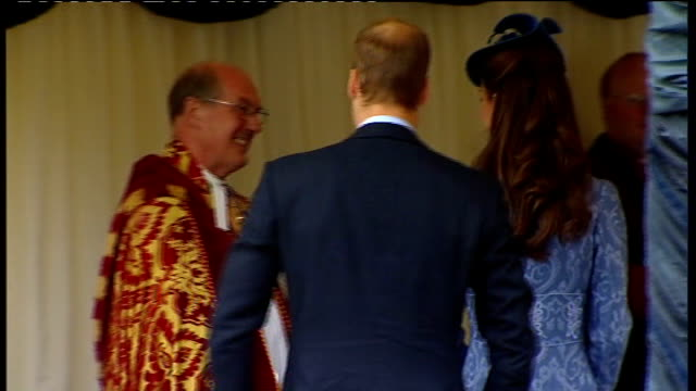 duke of edinburgh's 90th birthday: church service at windsor castle; back view of prince william, catherine and prince harry arriving and shaking... - 90th birthday stock videos & royalty-free footage