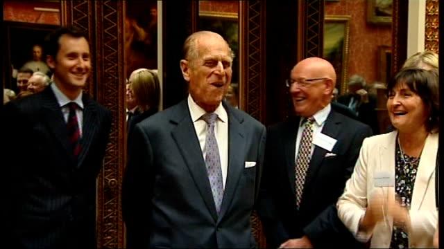 duke of edinburgh's 90th birthday england england buckingham palace photography** prince philip the duke of edinburgh stands smiling as guests at... - duke of edinburgh stock videos & royalty-free footage
