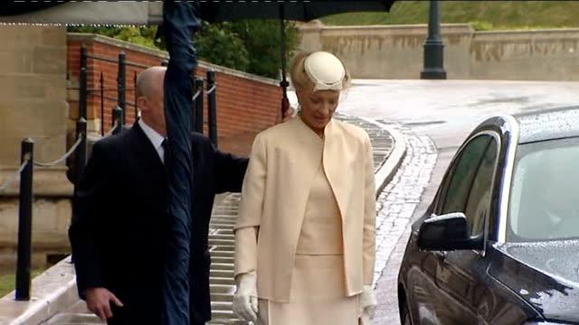 Duke of Edinburgh's 90th birthday Windsor Castle church service arrivals and departures CUTAWAYS of royal arrivals above Prince Edward Duke of Kent...