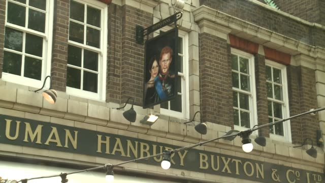 duke of sussex pub general views; uk, london, waterloo: prince harry and meghan markle sign, duke and duchess of sussex awning, people drinking in... - awning stock videos & royalty-free footage