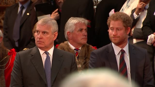 duke of york denies rift with prince of wales 1062016 / r10061616 int prince andrew seated alongside prince harry at a reception following the... - 90th birthday stock videos and b-roll footage