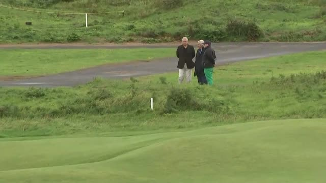 duke of york visits royal portrush golf course northern ireland portrush royal portrush golf course ext young golfer playing drive / prince andrew... - golf course stock videos & royalty-free footage