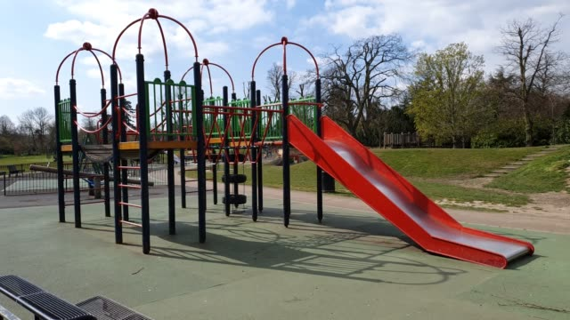 dulwich park play area is closed to the public during the coronavirus pandemic on april 1 2020 in london england - brian dayle coronavirus stock videos & royalty-free footage