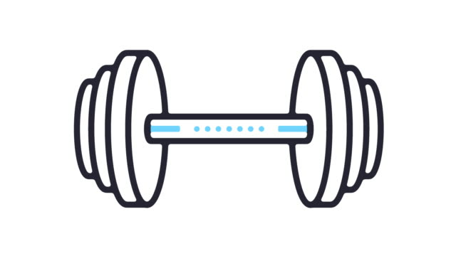 dumbbell icon animation - illustration stock videos & royalty-free footage