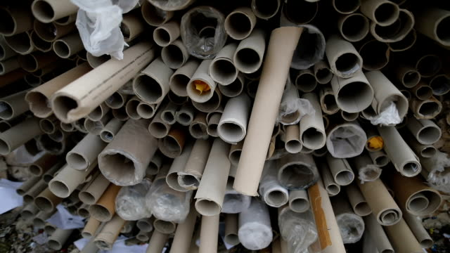 dump of paper rolls for recycling,close up.recycling center - textile industry stock videos & royalty-free footage
