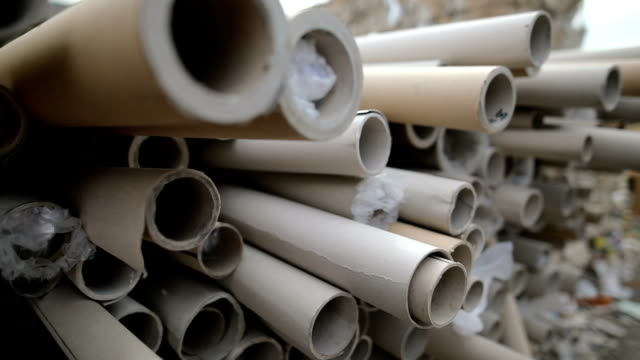 dump of paper rolls for recycling,close up.recycling center - bundle stock videos & royalty-free footage