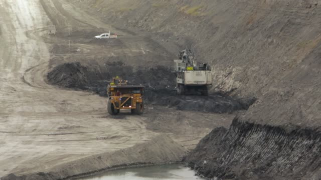 dump truck reverses to digger - coal mine stock videos & royalty-free footage