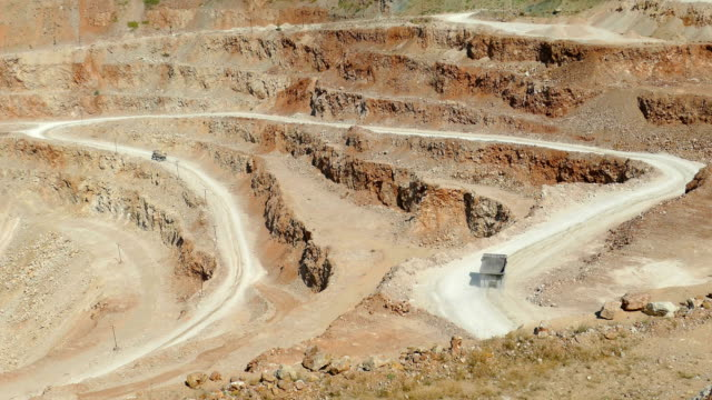 dump trucks in the open pit mining - dump truck stock videos and b-roll footage
