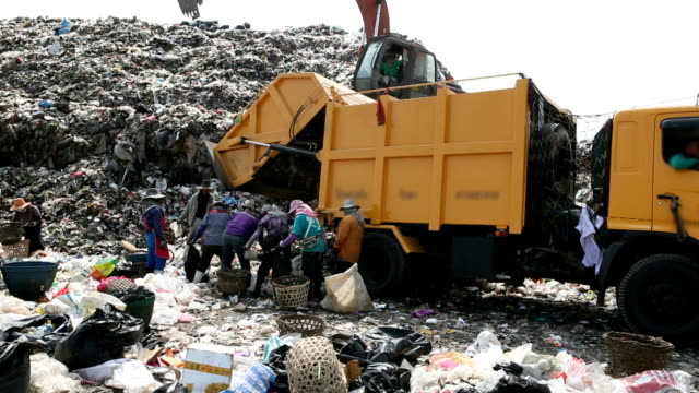 dumping garbage - dump truck stock videos & royalty-free footage
