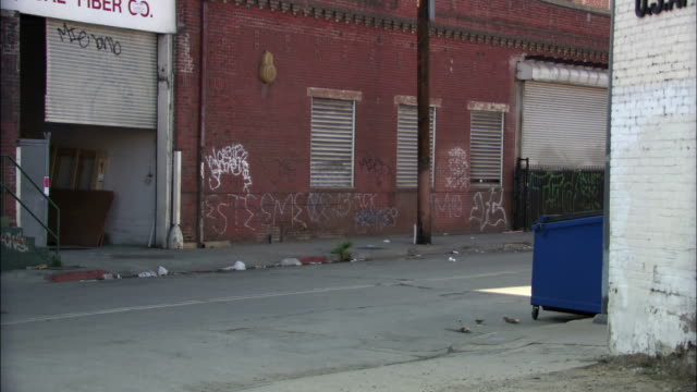 stockvideo's en b-roll-footage met dumpsters are outside warehouses in an alley. - afvalcontainer container