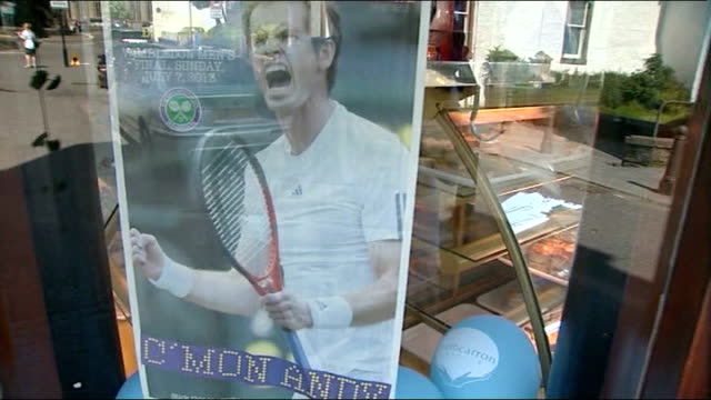 dunblane celebrates andy murray's wimbledon victory scotland dunblane ext two women holding up picture of andy murray and cars blasting their horns... - for sale englischer satz stock-videos und b-roll-filmmaterial