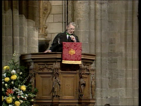 memorial service:; b)c4n scotland: dunblane cathedral: int procession of clergy towards thru chancel clergy towards ditto as bv congregation stand... - dunblane stock videos & royalty-free footage