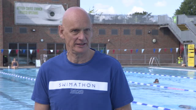 duncan goodhew intv - swimming pools reopening after lockdown will benefit people's mental health - wellbeing stock videos & royalty-free footage