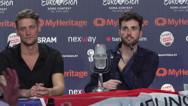 vídeos y material grabado en eventos de stock de duncan laurence on his secret to winning the contest, who he would like to collaborate with any previous winners at eurovision winner's press... - concurso television