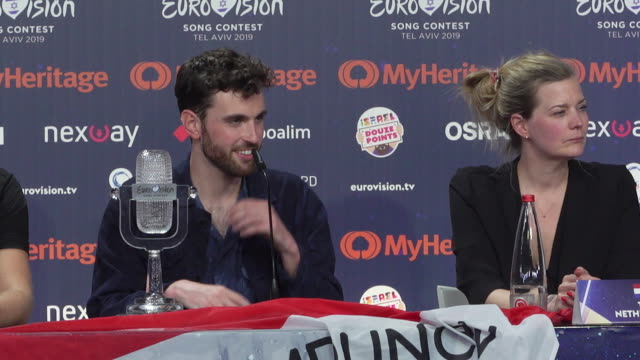 interview duncan laurence on what he thought of madonna's performance at eurovision winner's press conference at tel aviv fairgrounds on may 19 2019... - eurovision song contest stock videos & royalty-free footage