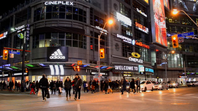 Dundas Square in Toronto City in the Intersection of Yonge Street and Dundas Street