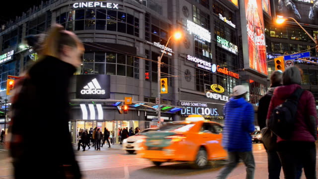 dundas square in toronto city in the intersection of yonge street and dundas street - western script stock videos & royalty-free footage