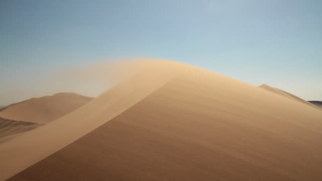 vidéos et rushes de ws dune 7 blue sky wind is blowing sand is moving to dune ground / walvis bay, erongo, namibia - dune de sable