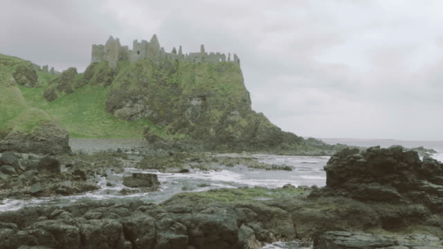 dunluce castle,northern ireland - castle stock videos & royalty-free footage