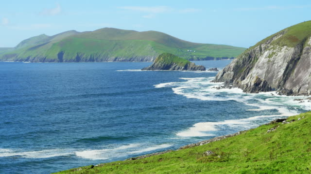 dunmore head on dingle peninsula and great blasket island - atlantic islands stock videos & royalty-free footage