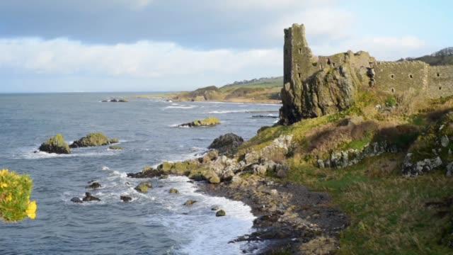 dunure castle on the ayrshire coast - david johnson stock videos & royalty-free footage