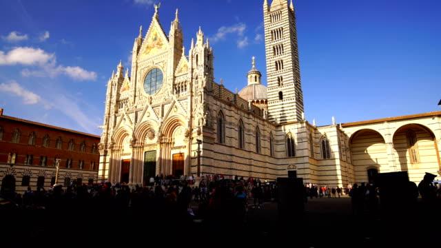 duomo di siena or metropolitan cathedral of santa maria assunta in siena - tuscany stock videos & royalty-free footage