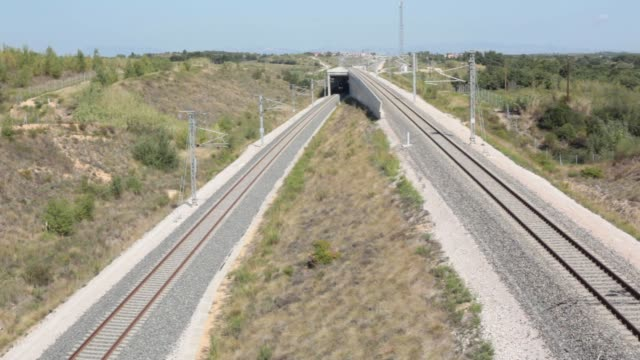 tgv duplex high speed trains operated by societe nationale des chemins de fer pass through the perthus tunnel in perthus france on wednesday sept 9... - tgv点の映像素材/bロール