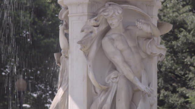 td dupont circle fountain displaying figures carved into its side / washington dc, united states - dupont circle stock videos & royalty-free footage