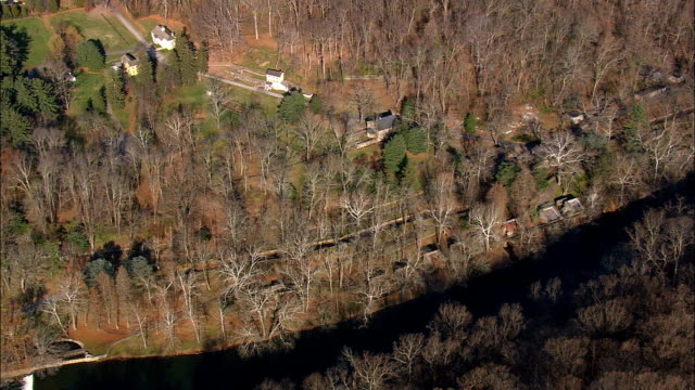 dupont's old gunpowder mills  - aerial view - delaware,  new castle county,  united states - gunpowder explosive material stock videos & royalty-free footage