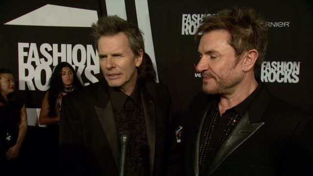 stockvideo's en b-roll-footage met interview duran duran band members discuss the evening show off their socks and they love fashion rocks at fashion rocks 2014 at barclays center on... - duran duran