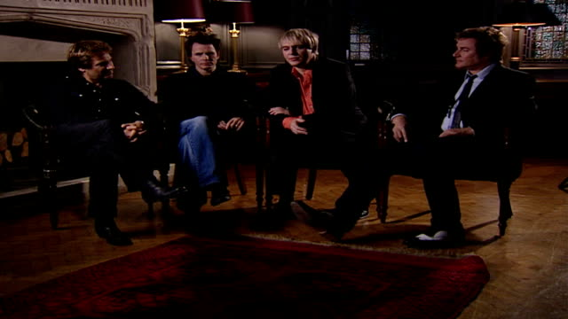 stockvideo's en b-roll-footage met duran duran release new album and single england london int duran duran interview sot talk about excitement at new album release / touring - duran duran