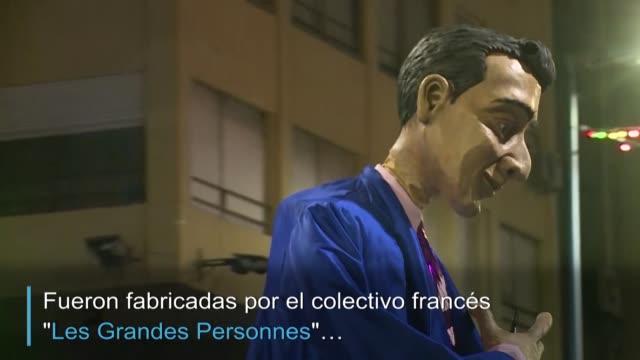 durante tres semanas el colectivo de teatro frances les grandes personnes trabajo con voluntarios uruguayos para construir marionetas gigantes que... - montevideo stock videos & royalty-free footage