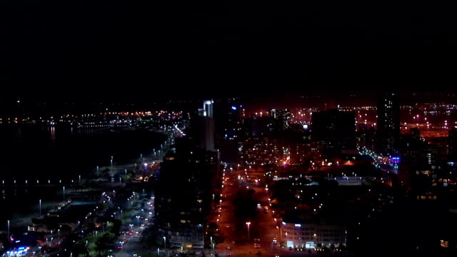 WS HA  Durban harbor and city at night / Durban/ South Africa