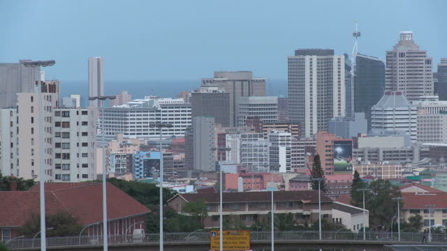 td durban skyline overlooking freeway traffic / durban, south africa - durban stock videos and b-roll footage