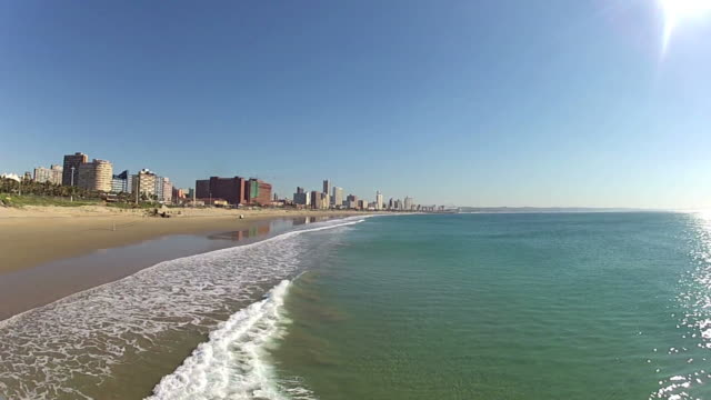 durban skyline with seascape - south africa - durban stock videos & royalty-free footage