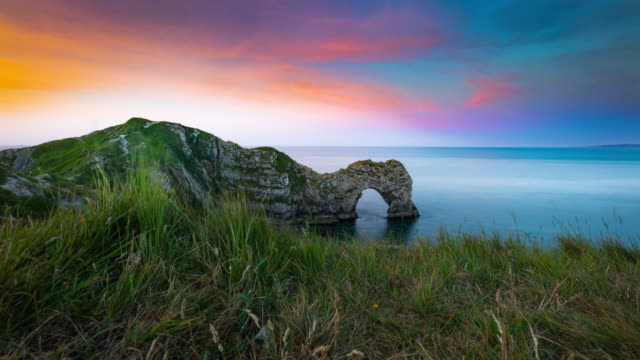 Durdle Door Sunrise, UK - Time Lapse Tracking Shot