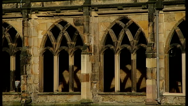 boulby potash mine 'dark matter' research project ext durahm cathedral tower / general views of cloisters/ general views of durham cathedral... - イングランド ダラム点の映像素材/bロール