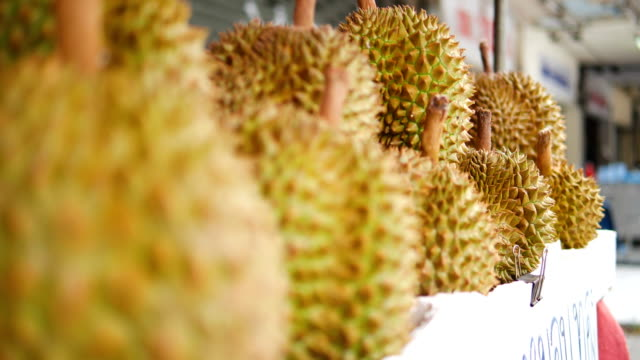 durian in market. - tropical fruit stock videos & royalty-free footage