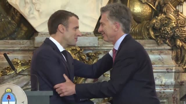 during a g20 meeting with his argentine counterpart mauricio macri french president emmanuel macron addresses the murder of saudi journalist jamal... - mauricio macri stock videos and b-roll footage