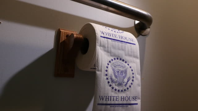 during a nationwide shortage of bathroom tissue a michigan resident had to resort to using a souvenir roll of white house toilet paper for their... - tissue paper stock videos & royalty-free footage