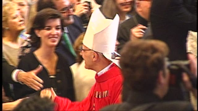 during a pallium ceremony pope john paul ii speaks with archbishop francis george later raised to cardinal at st peter's basilica on june 29 1997 in... - place of worship stock videos & royalty-free footage