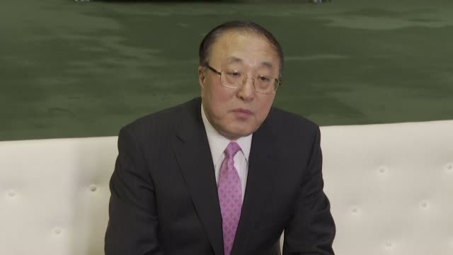 during a press briefing the chinese ambassador to the united nations says the authorities are making progress in the handling of the coronavirus... - authority stock videos & royalty-free footage