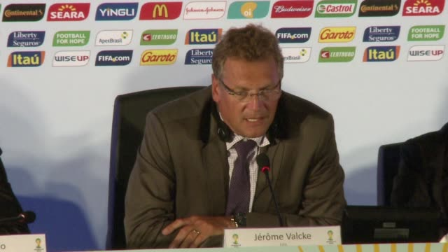 during a press conference at the maracana stadium in rio de janeiro on thursday fifa secretary general jerome valcke said he was increasingly... - sportweltmeisterschaft stock-videos und b-roll-filmmaterial