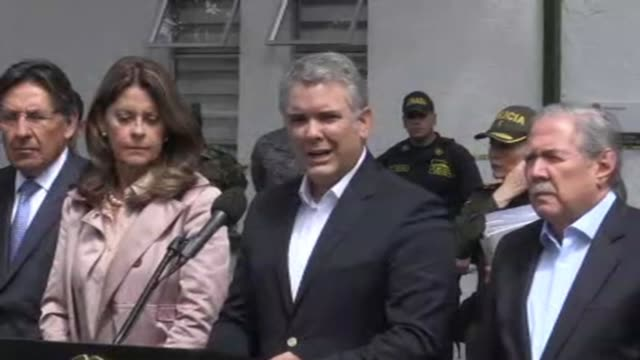 During a press conference from the site of an apparent car bomb Colombian President Ivan Duque classifies it as a terrorist act and says that those...