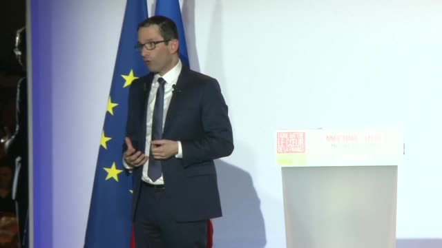 during a rally in lille french socialist party candidate benoît hamon says he deeply regrets the refusal of far left candidate jean luc melenchon to... - lille stock videos & royalty-free footage