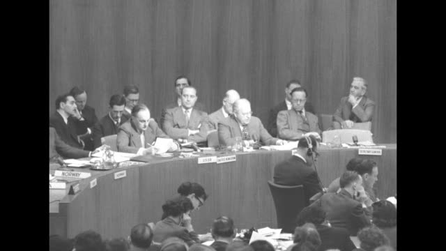during a session of the un security council, sot us ambassador to the united nations warren austin speaks about chinese situation in korea; asks how... - manchuria stock videos & royalty-free footage