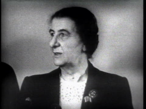 during a trip to new york city, israeli foreign minister golda meir comments on the serious threat posed by egypt's return to the gaza strip. - 1957 stock videos & royalty-free footage