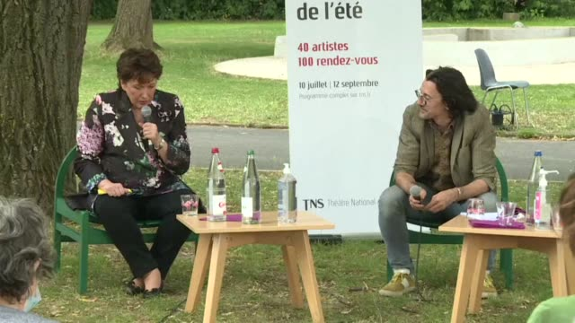 during a trip to strasbourg, france's new culture minister roselyne bachelot talks about the impact of covid-19 on the art and entertainment industry - roselyne bachelot stock videos & royalty-free footage